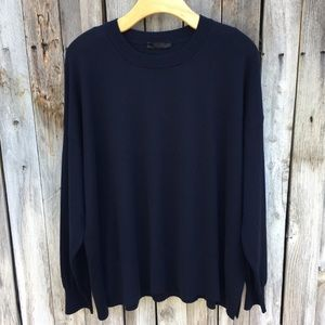 The Row Wool Cashmere Crewneck Sweater Navy Blue L